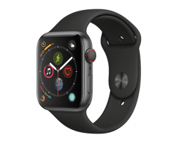 Apple - Apple Watch Series 4 44mm Space Gray GPS+Cell Black Sport Band